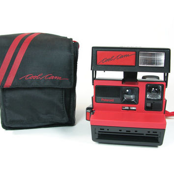 Polaroid Cool Cam in Red and Black with Bag, 600, Tested and Working
