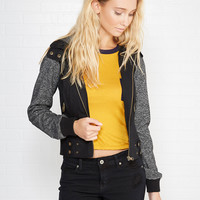 Hooded Bomber Jacket With Marled Knit Sleeves | Wet Seal