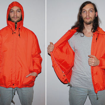 Mens Vintage 70s Orange Jacket / Neon Orange / Nylon, Lightweight Jacket / Anorak Style / Rain Jacket, Hood / Large