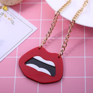 Fashion Punk Mouse Pendant Choker Chain Big Acrylic Sexy Red Lips Necklace For Women Night Club Party Jewelry Accessories