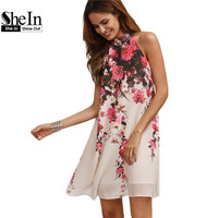 Summer Short Dresses Casual Womens Multicolor Round Neck Floral Cut Out Sleeveless Shift Dress