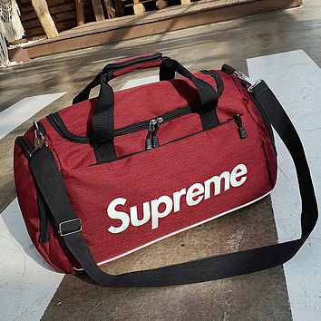 Supreme Women Men Canvas Luggage Travel Bags Tote Handbag Red