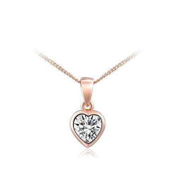 Stylish New Arrival Gift Shiny Jewelry Crystal Heart-shaped Necklace [9281902532]