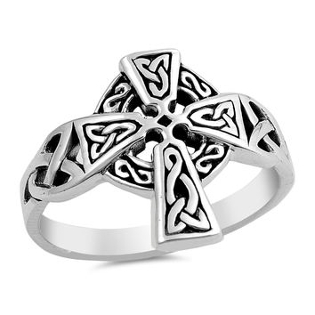 Sterling Silver Women's Ring Cross 17MM