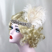 Great Gatsby, Feather Headband, Hair Accessory, Costume Headpiece, Champagne, Pearls, Swarovski Crystal, Champagne, Feather Fascinator