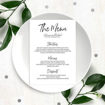 Stylish Hand Lettered Printable Custom Menu-Calligraphy Wedding Menu-DIY Handwritten Style Wedding Reception Menu Cards-Menu Template