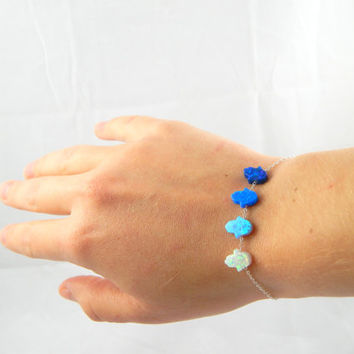 Pick your Blue hamsa jewelry opal bracelet, pick your own color opal hamsa jewelry bracelet, sterling silver hand of hamsa charm bracelet