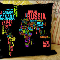 Colorful World Map - Pillow Cover and Pillow Case.