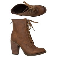 REBELS FALLON LACE UP HEELED BOOTIE