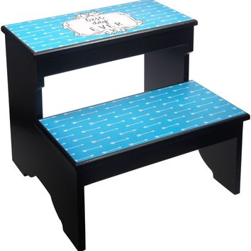Best Day Ever, Black and Blue, 2 Step Decorative Wood Step Stool
