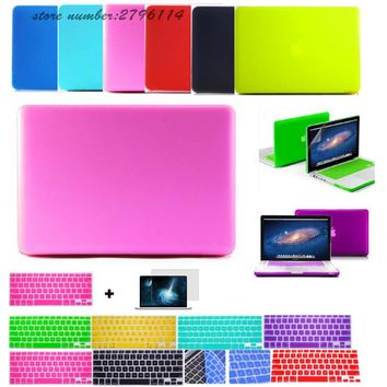 3in1 Deep colors matte laptop case For Macbook pro 13 air 11 13 retina 13 15 +keyboard cover+screen protector for apple mac