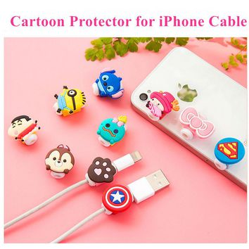 Cute Cartoon Charger Cable Protector de cabo USB Cable Winder Cover Case For IPhone 5 5s 6 6s 7 7 plus Cable Protect Stitch Gift