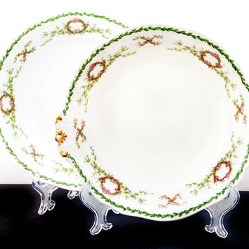 LIMOGES French Porcelain SERVING BOWLS. Limoges French Porcelain China by Charles Ahrenfeldt. Rose, Wreath and Garland Pattern.