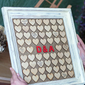 Wedding Guest book, Drop Box, Guest Book from woodlack on Etsy