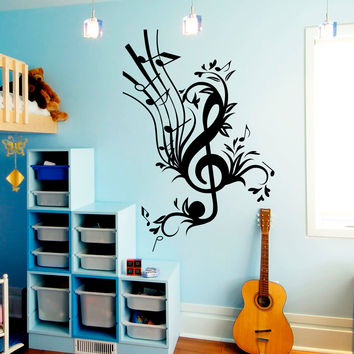 Wall Decal Music Treble Clef Stave Notes Flowers Musical Instrument Design Wall Decals Rehearsal Room Bedroom Garage Home Decor 3878