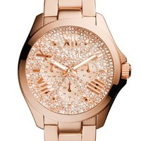 Women's Fossil 'Cecile' Pave Dial Multifunction Bracelet Watch, 40mm - Rose Gold