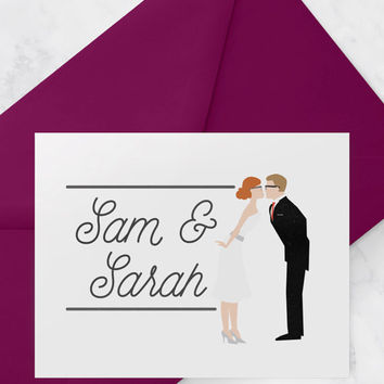 Custom wedding logo design with couple portrait illustration and names or initials