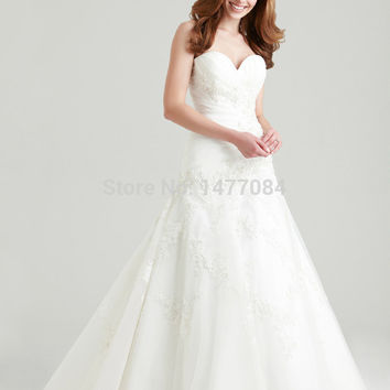 A-line taffeta & tulle wedding dresses 2015, embroidered & crystal sweetheart bridal gown, stock ruching ball gown