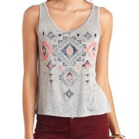 Rhinestone Aztec Graphic Tank Top by Charlotte Russe - Heather Gray