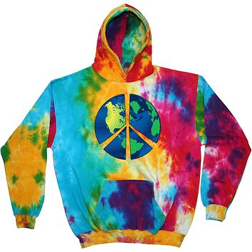 Buy Cool Shirts Peace Sign Hoodie Blue Earth Tie Dye Hoody