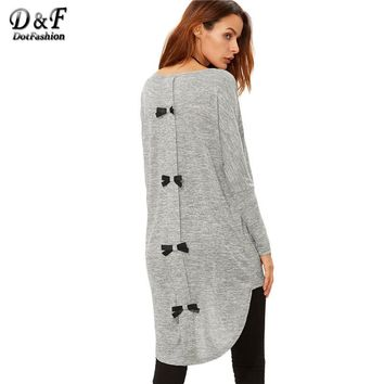 Tops Clothes Female Long Sleeve Tops Winter Casual Women Grey Knit Bow Back High Low T-shirt