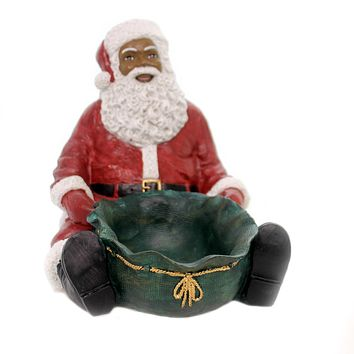 Black Art SANTA CANDY TRAY Polyresin African American Christmas 17088