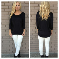 Black Crew Neck Basic Modal Top