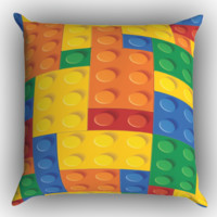Lego Brick Zippered Pillows  Covers 16x16, 18x18, 20x20 Inches