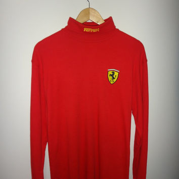 Vintage FERRARI Made In U.K Long Sleeve Shirt Stitch Embroidered Logo