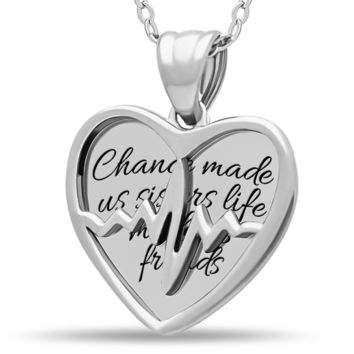 Sister Two Heart Necklace, 925 Silver, Silver Plated Best Sister Forever Necklace