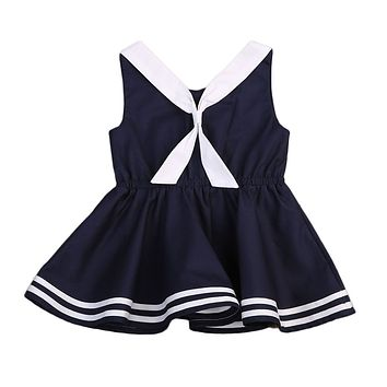 Pudcoco Fashion Summer Toddler Baby Kids Girls Clothing Dresses Cotton Bow Tie Cute Baby Girls Clothes Dress