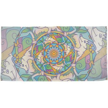 LMFCY8 Mandala Trippy Stained Glass Hedgehog All Over Beach Towel