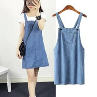 Summer Korean Women's Fashion Stylish Denim Dress One Piece Dress [6033315137]