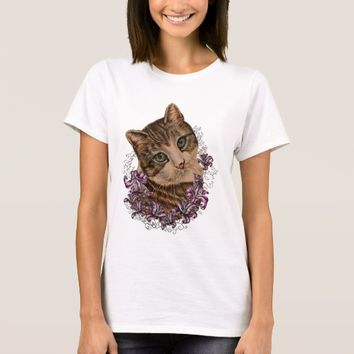 Drawing of Brown Cat and Lilies Lily Art T-Shirt
