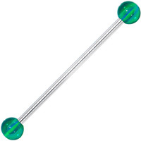 Green Blue Striped Industrial Barbell 31mm | Body Candy Body Jewelry