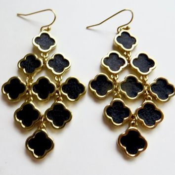 Vintage Quatrafoil Earrings Black Gold Drop Quatrafoils Pierced Earrings Designer Inspired
