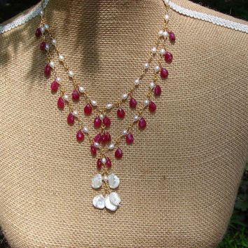 Ancient Neoclassical Design Keishi Pearl and Ruby Necklace with Gold Plated Twisted Links and Hand Made Clasp Roman Greek Design
