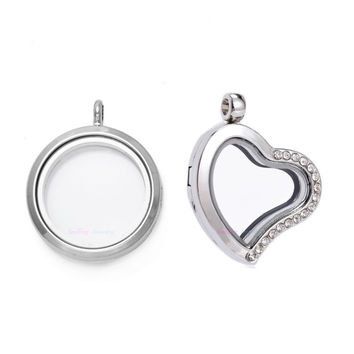 5pcs DIY Living Memory Floating Charms Glass Floating Lockets Heart Magnetic Imitation Crystal Stainless Steel Pendants
