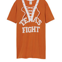 University Of Texas Lace-up V-neck Tee - PINK - Victoria's Secret