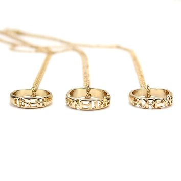 "3pcs Engraved ""Best Friends Forever"" Pendant-Friendship Ring Charm Necklace Gold Christmas Birthday Gift Fashion Jewelry"