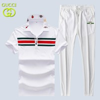 GUCCI New fashion snake bee floral lapel top and pants two piece suit White