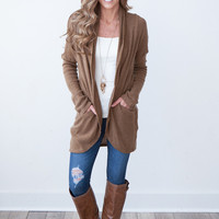 Long Sleeve Bouclé Open Cardigan - Mocha