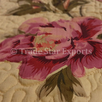"""Glazed Cotton Baby Quilt, Floral Printed Blanket, Size 100"""" x 140"""" Cms, Baby Room Decor, Baby Pattern Quilting , Comforter"""