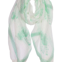Tea Party Printed Scarf in Mint