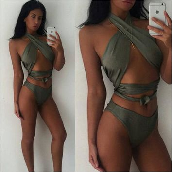 Pretty Bikini Set Itsroya Sexy Cross Bikini Brazilian 2017 Bandage Swimsuit Women Up Swimwear  Wrap Top Bathing Suits Swim Biquini KO_24_2