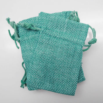 Faux Burlap Pouch Bags, 4-inch x 5-inch, 6-pack, Turquoise