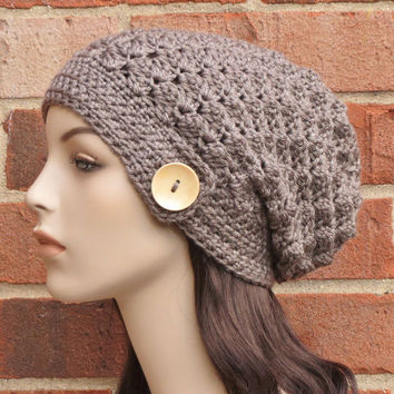 Crochet Slouchy Beanie Hat in Taupe Brown Heather // THE MALLORY // VEGAN Blend