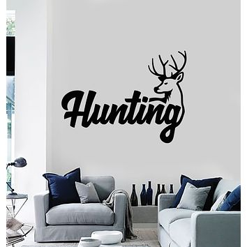 Vinyl Wall Decal Deer Horn Head Hunting Hobby Animal Stickers Mural (g705)