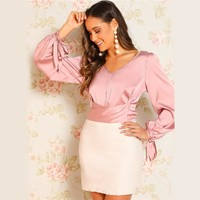 Pink V-neck Knotted Satin Glamorous Top Crop Belted Blouse Women Bishop Sleeve Party Tops and Blouses