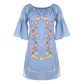 Seaside Embroidered Denim Dress by Coco + Carmen